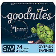 GoodNites Bedtime Bedwetting Underwear for Boys, Size S/M, 74 ct.