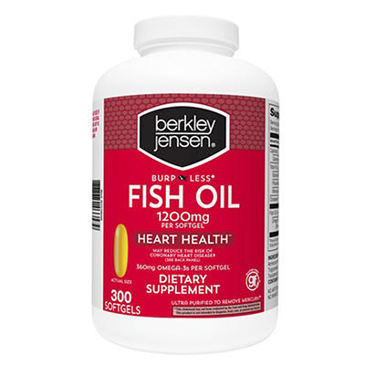 Berkley Jensen Odorless 1,200mg Fish Oil Softgels, 300 ct.
