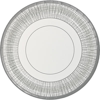 "Artstyle 7"" Dinner Plates, 75 ct. - White/Silver"