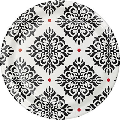 """Artstyle 7"""" Dinner Plates, 75 ct. - Black/Red"""