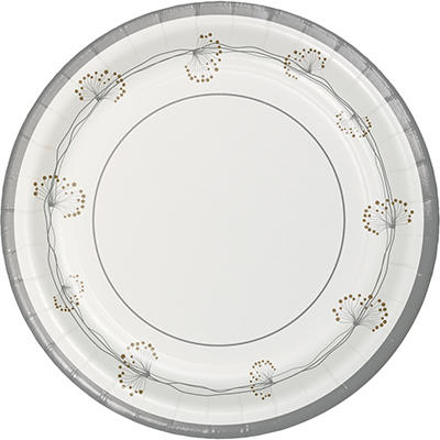 """Artstyle 10"""" Dinner Plates, 40 ct. - Silver/White"""
