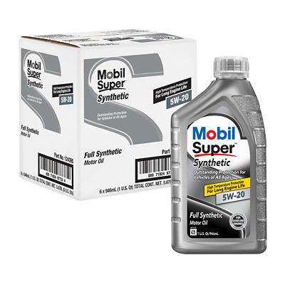 Mobil 5W-20 Super Synthetic Motor Oil, 6 pk./1 qt.