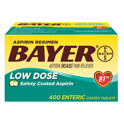 Bayer Aspirin Regimen 81mg Low-Dose Enteric-Coated Tablets, 400 ct.