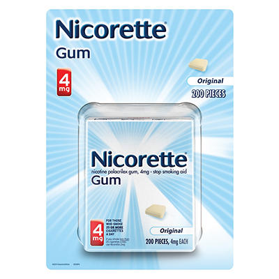 Nicorette 4mg Original Nicotine Polacrilex Gum, 200 Pieces