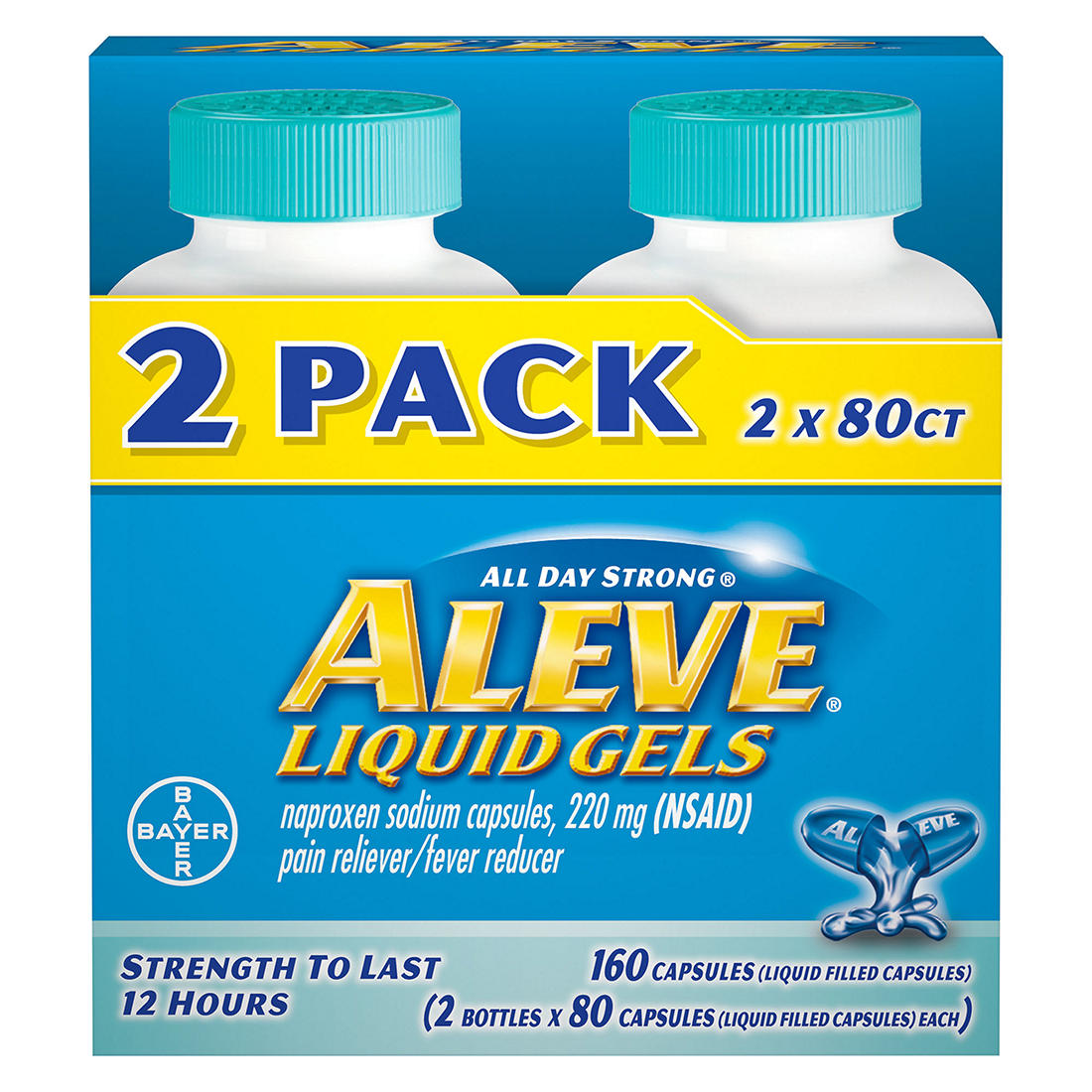 Aleve 220mg Liquid Gel Capsules, 160 ct