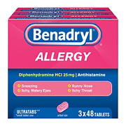 Benadryl Ultratab Antihistamine Allergy Medicine Tablets, 3 pk./48 ct.