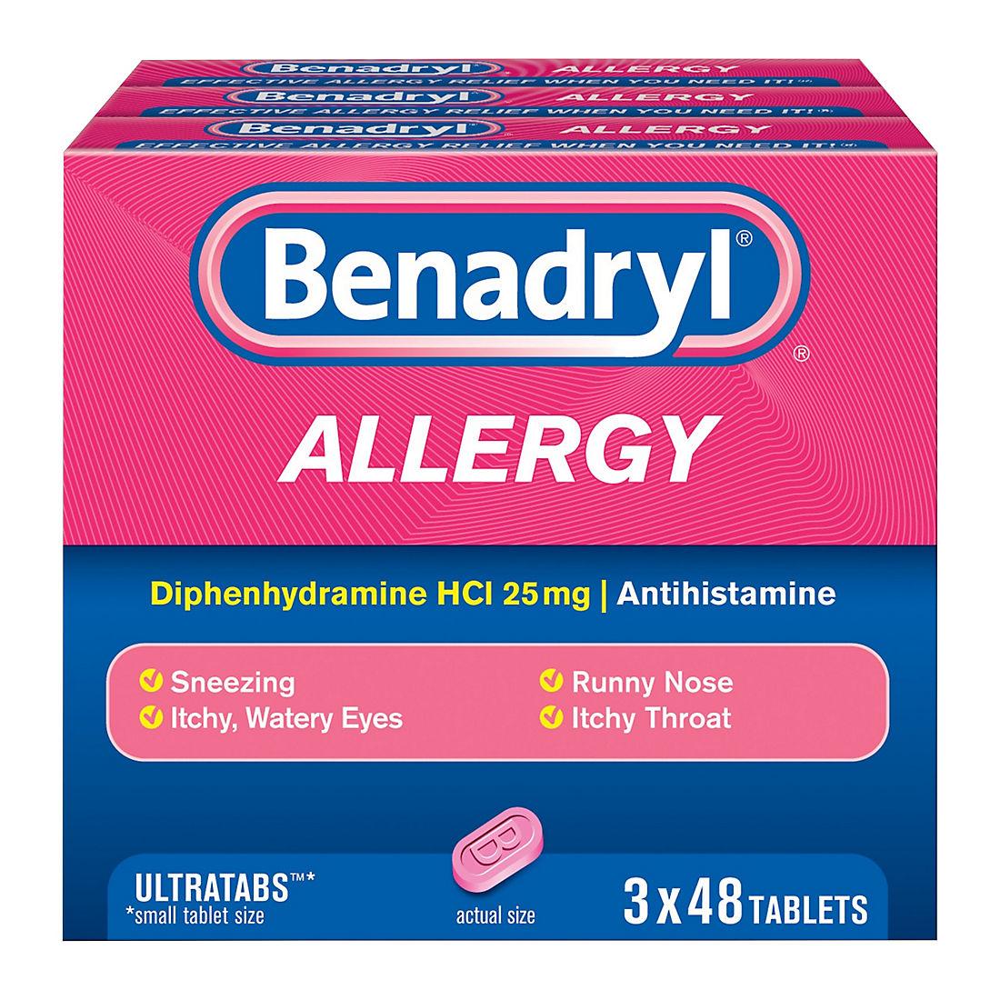 Benadryl Ultratab Antihistamine Allergy Medicine Tablets, 3 pk /48 ct