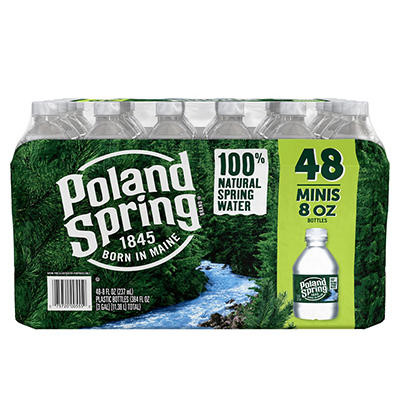 Poland Spring 100% Natural Spring Water, Deposit, 48 pk./8 oz.