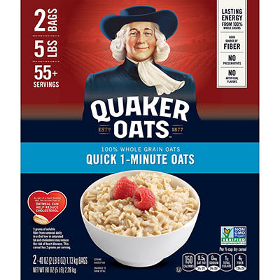 Quaker Oats 100% Natural Whole Grain Quick 1- Minute Oats, 2 pk./40 oz