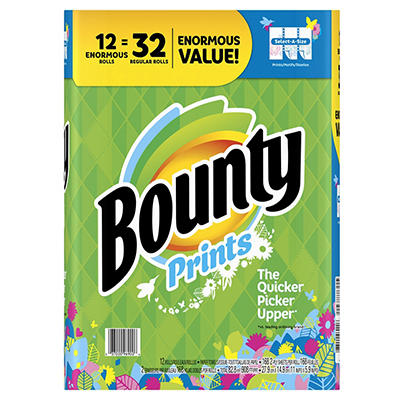 Bounty Select-A-Size Enormous Roll Paper Towels, 12 pk. - Print
