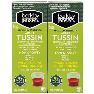 Berkley Jensen Tussin DM Max Cough Suppressant and Expectorant, 2 pk./