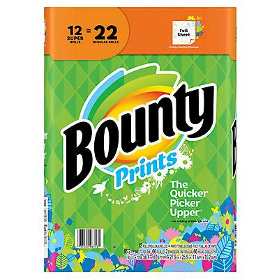 Bounty Super Roll Paper Towels, 12 pk. - Print