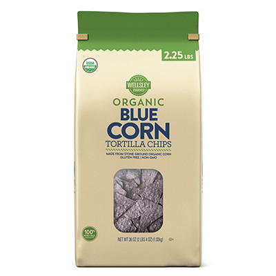 Wellsley Farms Organic Blue Corn Tortilla Chips, 36 oz.