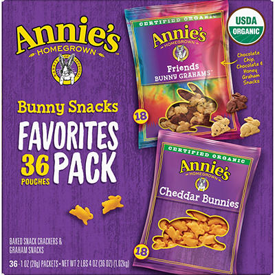 Annie's Organic Bunny Snacks Variety Pack, 36 ct.
