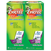 Children's Grape Flavored Zyrtec 24 Hour Allergy Relief Syrup With Cetirizine, Dye-Free, Sugar-Free, 8 oz.