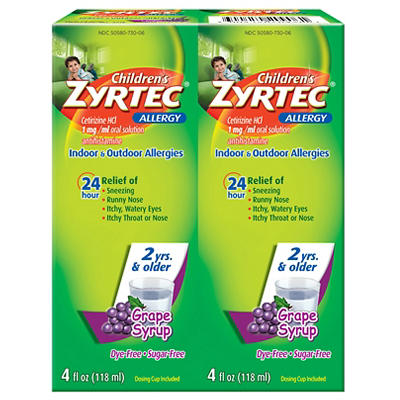 Children's Grape Flavored Zyrtec 24 Hour Allergy Relief Syrup With Cet