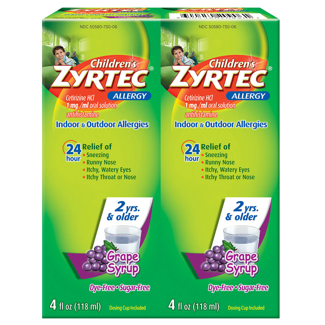 Children's Grape Flavored Zyrtec 24 Hour Allergy Relief Syrup With  Cetirizine, Dye-Free, Sugar-Free, 8 oz