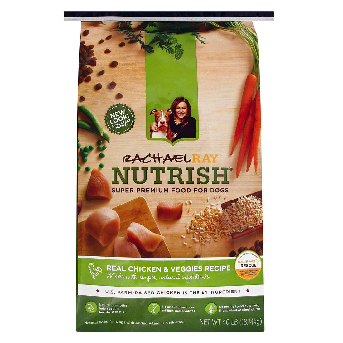 graphic regarding Printable Rachael Ray Dog Food Coupons named Rachael Ray Nutrish Correct Hen Vegetables Dry Pet dog Meals, 40 lbs ..