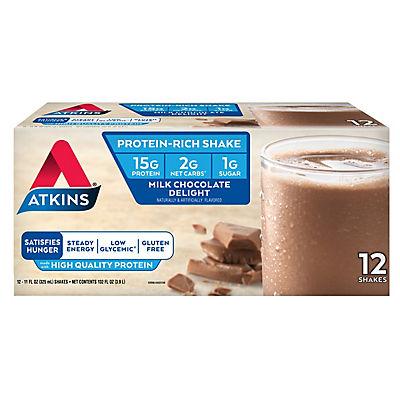 Atkins Ready To Drink Shake, Milk Chocolate Delight, 12 ct./11 oz.