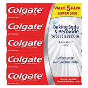 Colgate Baking Soda and Peroxide Whitening Toothpaste, Brisk Mint, 5 pk./8 oz.