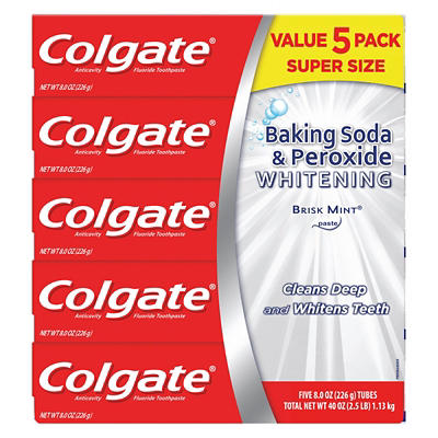 Colgate Baking Soda and Peroxide Whitening Toothpaste, Brisk Mint, 5 p