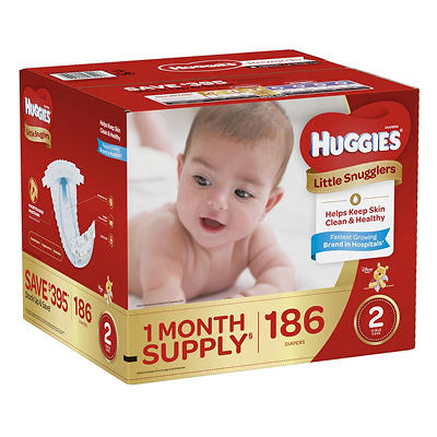 Huggies Little Snugglers Diapers, Size 2, 186 ct.