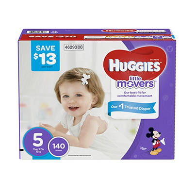 Huggies Little Movers Diapers, Step 5, 140 ct.