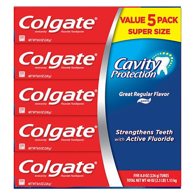 Colgate Cavity Protection Toothpaste with Fluoride, Great Regular Flav
