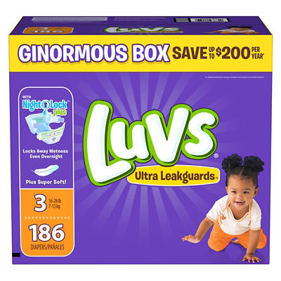 Luvs Ultra Leakguards Diapers, Size 3, 186 ct.