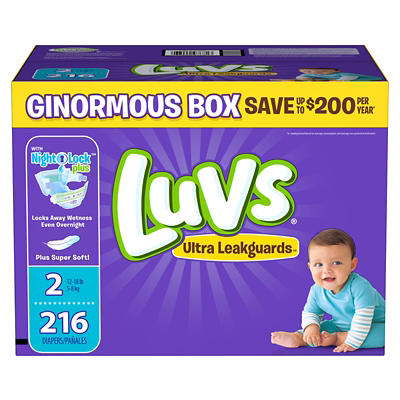 Luvs Ultra Leakguards Diapers, Size 2, 216 ct.