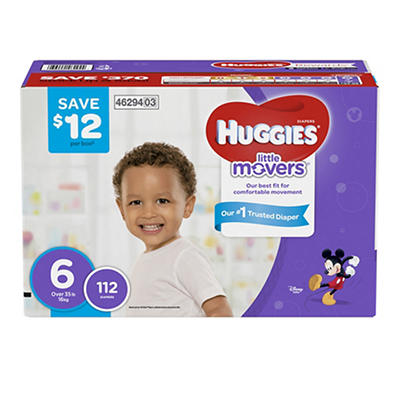 Huggies Little Movers Diapers, Step 6, 112 ct.