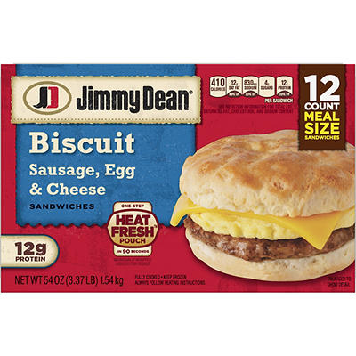 Jimmy Dean Frozen Sausage, Egg & Cheese Biscuit Sandwiches, 12 ct.