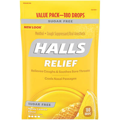 Halls Sugar-Free Honey Lemon Cough Suppressant Drops, 180 ct.