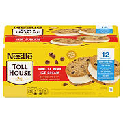 Nestle Toll House Vanilla Bean Ice Cream Chocolate Chip Cookie Sandwiches, 12 ct.