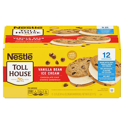 Nestle Toll House Vanilla Bean Ice Cream Chocolate Chip Cookie Sandwic