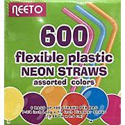 Neeto Flexible Plastic Neon Straws, 600 ct. - Multicolor