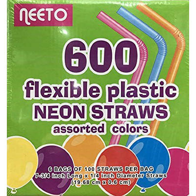 Neeto Flexible Plastic Neon Straws, 600 ct. - Multicolor