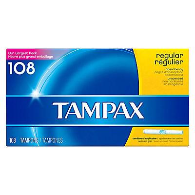 Tampax Regular Unscented Tampons, 108 ct.