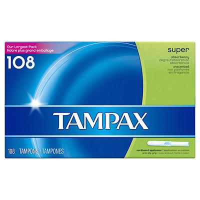 Tampax Super Unscented Tampons, 108 ct.