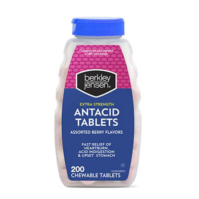 Berkley Jensen Extra Strength Antacid Tablets, Assorted Berry Flavors,