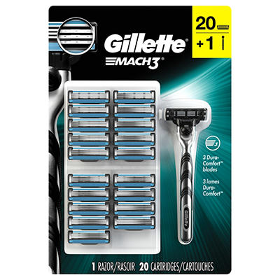 Gillette Mach3 Base Razor with 20 Blade Refills