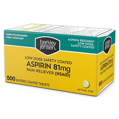 Berkley Jensen 81mg Low Dose Safety Coated Aspirin, 500 ct.