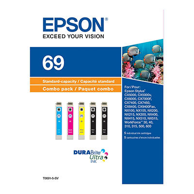 Epson 69 DURABrite Multi-Color Combo Ink Pack, 5 ct.