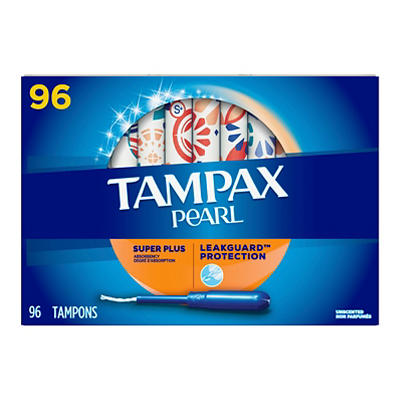 Tampax Pearl Plastic Super Plus Unscented Tampons, 96 ct.