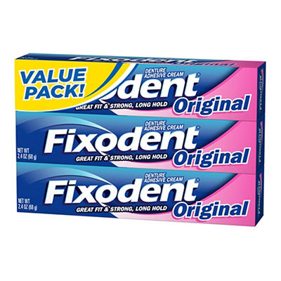 Fixodent Original Complete  Denture Adhesive Cream Triple Pack, 7.2 oz