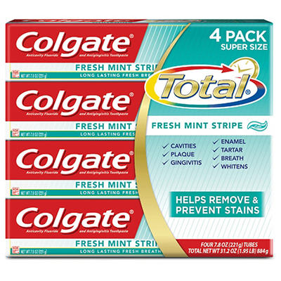 Colgate Total Fresh Stripe Toothpaste, 4 pk./7.8 oz.