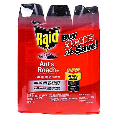 Raid 17.5-Oz. Ant and Roach Killer Spray, 3 pk. - Red