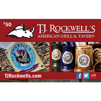 $50 T.J. Rockwell's American Grill & Tavern Gift Card, 2 pk.