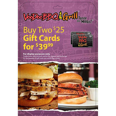 $25 VooDoo BBQ and Grill Gift Card, 2 pk.