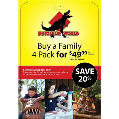 Dinosaur World FL Family 4 pk. Tickets